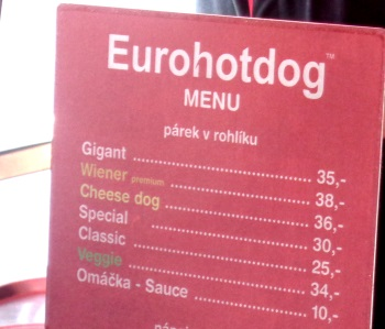 Hot Dog prices in Prague (sign)