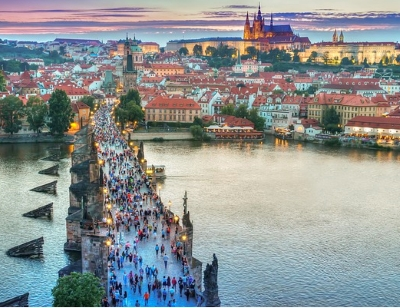 Charles Bridge Prague with many people